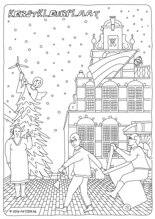 Kerstkleurplaat