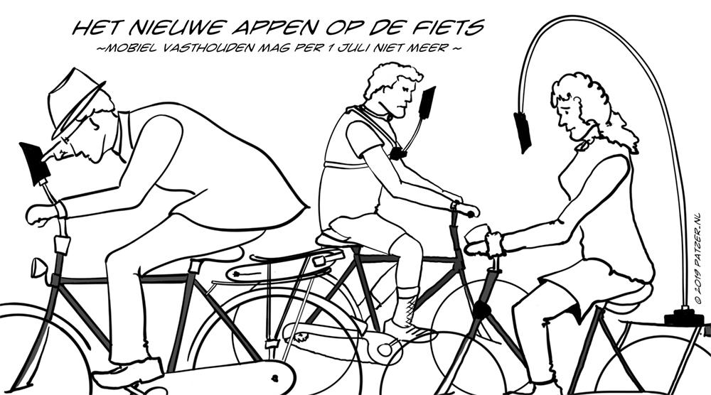 Mobiel elektronisch apparaat op de fiets vasthouden per 1 juli verboden